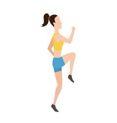 running women in flat design style sport vector image