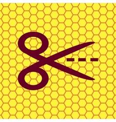 Scissors cut dash dotted line icon symbol Flat vector