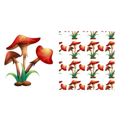 seamless background design with red mushrooms vector image