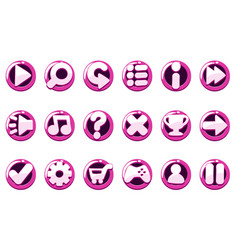 set glossy purple game buttons for interface vector image