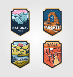 set national park outdoor adventure vintage vector image