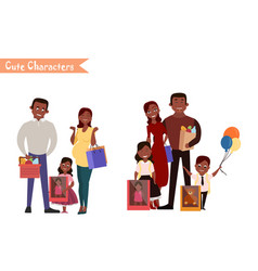 set of characters and people shopping vector image