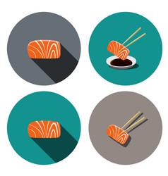 Set of sashimi salmon icon in flat style vector
