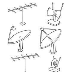 set of satellite dish and antenna vector image