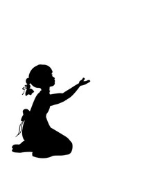 Silhouette girl sitting lap with hand up vector