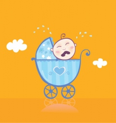 small boy crying in pram vector image