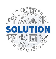 Solution round in outline vector