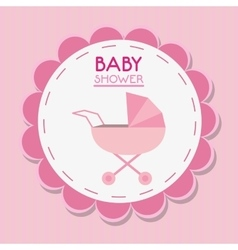 Stroller of baby shower card design vector