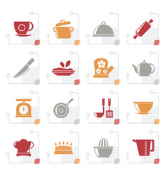 stylized restaurant and kitchen items icons vector image
