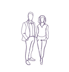Successful business man and woman couple doodle vector