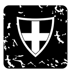 Swiss shield icon grunge style vector image