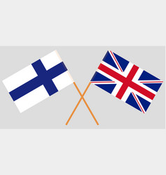 the crossed uk and finland flags vector image