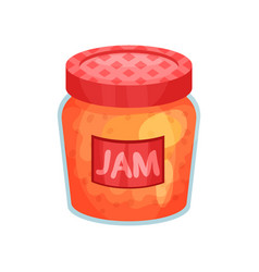 transparent glass jar with apple jam bank with vector image