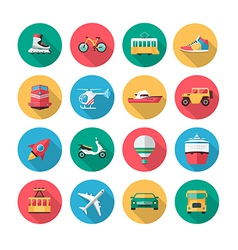transport icons in flat style with long shadow vector image