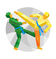 Two taekwondo fighters with abstract patterns vector