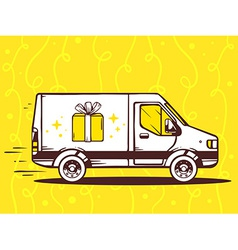 van free and fast delivering gift box to vector image