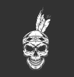 vintage monochrome indian warrior skull vector image