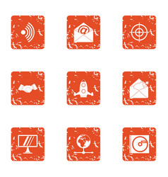 Vital information icons set grunge style vector