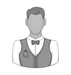 Waiter icon black monochrome style vector image