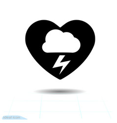weather forecast - storm in heart cloud lightning vector image