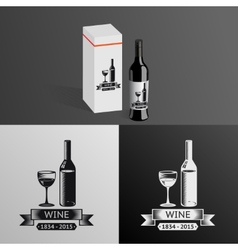 Wine Alcohol Drink Logo Symbol Bottle Glass vector image