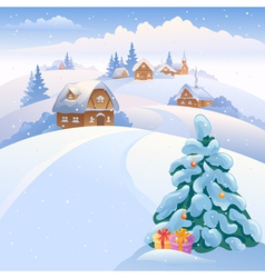 Winter village on the hills vector image