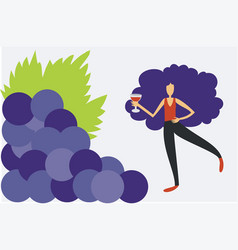 Woman drinking wine close to a bunch grapes vector