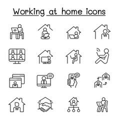 working at home icons set in thin line style vector image