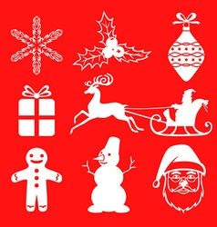 xmas sil set2 red vector image