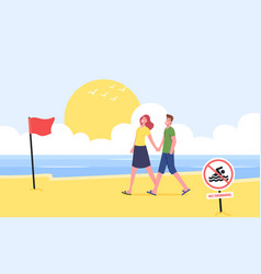 young couple holding hands walking along sandy vector image