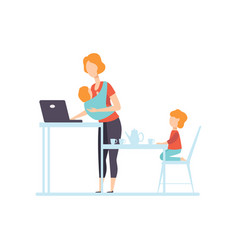 Young mom with baby in sling working on laptop vector