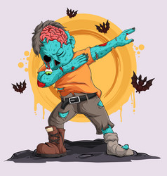 zombie doing dabbing dance with bats around him vector image