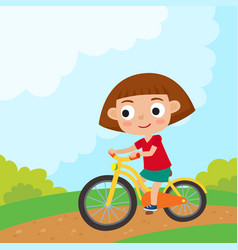 cartoon girl riding a bike having fun riding vector image