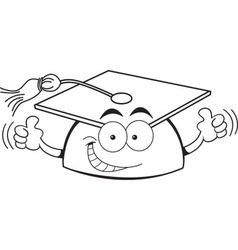 Cartoon graduation cap giving thumbs up vector image vector image