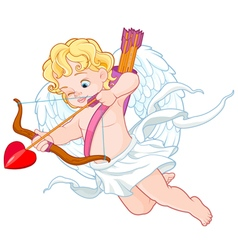 Cupid with Bow and Arrow Aiming at Someone Valenti vector image vector image