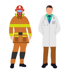 fireman and doctor cartoon icon service 911 vector image vector image