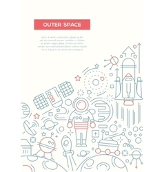 Outer Space - line design brochure poster template vector image vector image