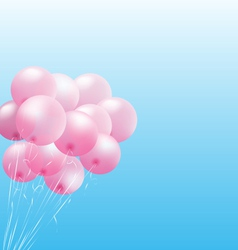Pink inflatable air balls on sky vector image