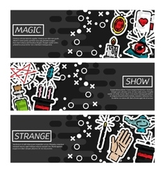 Set of horizontal banners about magic vector