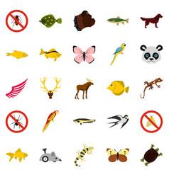 asian animals icons set flat style vector image