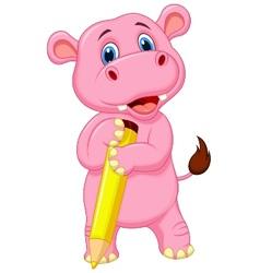 Cute hippo cartoon holding yellow pencil vector image vector image