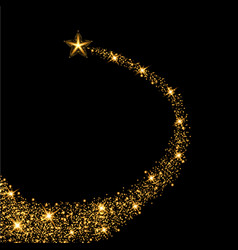 glow gold star with trail vector image vector image