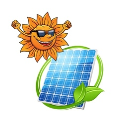 Happy sun with a photovoltaic cell vector