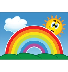 rainbow cloud and happy sun vector image