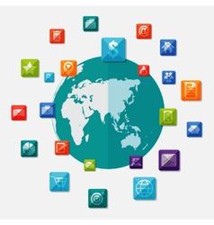 Social media icons on world globe vector image vector image
