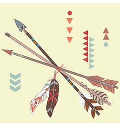 different ethnic arrows with feathers vector image vector image