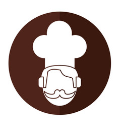 face chef restaurant symbol shadow vector image