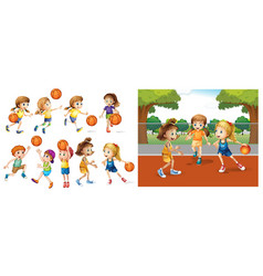 girls and boys playing basketball vector image vector image