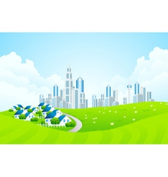 Green Landscape with City line and Cottage Village vector image vector image