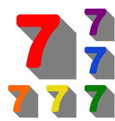 number 7 sign design template element set of red vector image vector image